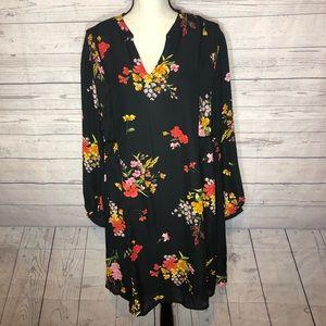 Old Navy Floral Dress Black Swing  Long Sleeve
